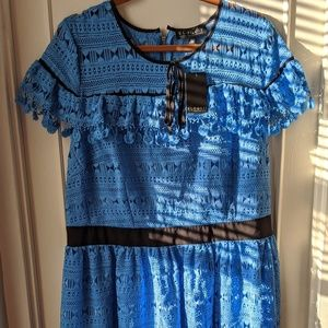 Eloquii Baby Blue Lace Dress with Black Trim, NWT